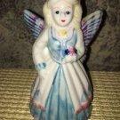 """Lovely garden flower fairy angel porcelain ceramic hand painted bell 5"""" tall blu"""