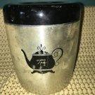 WEST BEND vintage spun silver aluminum metal TEA canister & lid retro midcentury