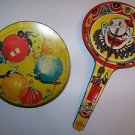2 vintage tin toy party noise makers clown ballroom dancers New Years birthday