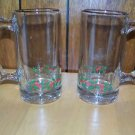 2 Christmas red & green handled glasses mugs gold trim holly holiday party EUC
