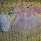 Frilly lace pink ruffled dress bloomers petticoat outfit doll clothes dainty