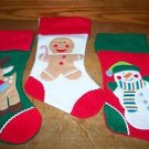 "3 CHRISTmas decoration stockings felt red snowman gingerbread man reindeer 8x17"""