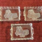 3 vintage mini ashtrays incense holders dishes Scottie dogs clear glass trinkets