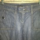 NEW YORK & CO capri peddle pusher pants 6 mid rise cotton denim blue jean cuffed