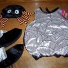 Infant baby costume HALLOWEEN spider web plush padded suit shoe covers hat NWT