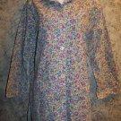 Crest 5160 long button scrub jacket lab coat floral dental medical vet uniform S