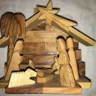 "Hand carved olive wood nativity manger made Holy Land Bethlehem 4.5x5.5"" Israel"