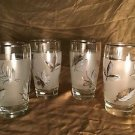 """3 LIBBEY fall leaves metallic silver frosted tumbler water glasses vintage 5.25"""""""