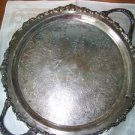 "Vintage round silverplate serving tray 14"" ornate rosette scroll sculpted edges"