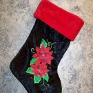 """Black red velour CHRISTmas stocking poinsettia flowers wall hanging deco 9x17"""""""
