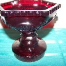 "Avon ruby red CAPE COD embossed pressed glass taper or 2.5"" pillar candle holder"