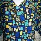 Bright artsy abstract pullover v-neck scrubs top nurse dental medical vet 1X 2X