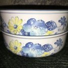 NORITAKE Progression china Good Times blue yellow floral made Japan 2 soup bowls