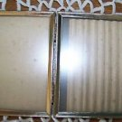 """Bi-fold vintage embossed gold metal double hinged 3x5"""" frames photo picture deco"""