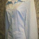 TOMMY HILFIGER seersucker button down blouse shirt career striped retail $59