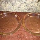 "Lot 2 PYREX 209 9"" clear glass pie plate pan bakeware baking dessert vintage"