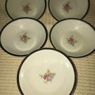 "5 berry bowls PADEN CITY ivory 22K gold trim floral bouquet antique dish 5"" diam"