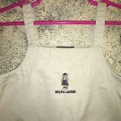 RALPH LAUREN khaki embroidered teddy bear logo jumper dress toddler 3T snap side