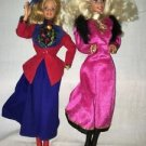 2 BARBIE of the World doll 1988 Russia England outfits clothes boots pink dress