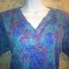 Blue purple abstract scrubs vneck pullover top nurse medical uniform vet women S