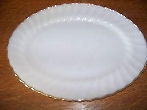 "FIRE KING milkglass gold trim antique swirl scallop edge 13x10"" large platter GC"