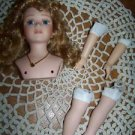 Hand painted porcelain fashion doll bust arms legs blonde curly hair blue eyes