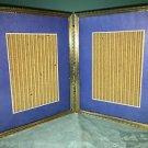 Bi-fold vintage emboss gold metal double hinge 8x10 frame photo blue matte GVC