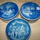 3 KEEPSAKE fruit cake cans tins cities '80-82 Wash DC Orleans Chicago vintage