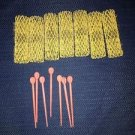 """7 old style brush spring mesh hair curlers rollers pins yellow approx 3/4x2 1/2"""""""
