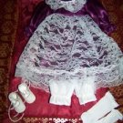 """Purple satin lace dress bloomers socks shoes doll clothes 13"""" Victorian style"""