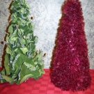 "2 unique modern artsy cone CHRSTmas trees 14"" tall wine feather look green leaf"