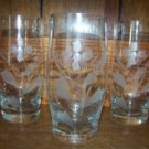 "Set of 3 cut etched frosted glasses tumblers 5.5"" high flowers elegant glassware"