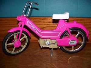 """Barbie hot pink bicycle moped motor bike 12"""" doll accessory toy vintage '83 used"""