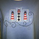 BON WORTH woman XS nautical July 4 lighthouse red white blue embellished tee