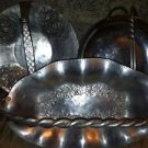 Vintage hand forged aluminum serving dishes handle trays basket style home decor