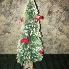"9"" vintage bottle brush CHRISTmas tree white flocked tips holly berry wood base"
