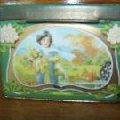 Victorian women seasons shabby chic hinged lid vintage tin artsy deco box patina