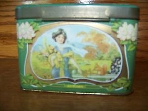 Victorian women seasons shabby chic hinged lid vintage tin artsy deco box patina