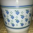 Vintage milk glass stackable coffee mug cup THERMOCRISA blue green grapes dots