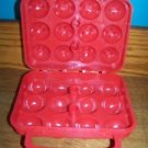 Hard plastic egg carrier camping picnics travel protects holds 12 hinged lid red