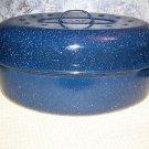 """Blue enamelware vtg USA large turkey ham roaster roasting pan 16x12"""" speckled"""