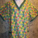 DRESS A MED Bright yellow green gathered back scrubs top nurse medical woman 2XL