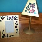 Stain glass brass look cut out humming bird flowers tea candle lamp frame set