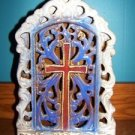 "15"" tall tea light candle holder porcelain hand paint table top cross decoration"
