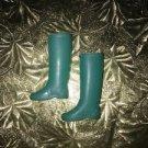 Vintage rubber rain boots golashes BARBIE Japan aqua teal blue GVC doll shoes