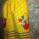 Womens half back tie skirt cooking apron bright yellow spring flowers one size