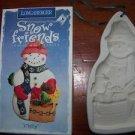 """'97 LONGABERGER POTTERY Snow Friends cookie mold 7"""" Snowman cutter decoration EC"""