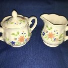Vintage SEARS French Country Ironstone blue peach flowers creamer sugar lid set