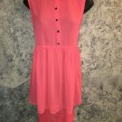 Neon orange open back high low hem (long back) sheer dress tunic junior L summer