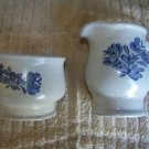 PFALTZGRAFF Yorktowne creamer sugar bowls dishes set blue heart flower EUC